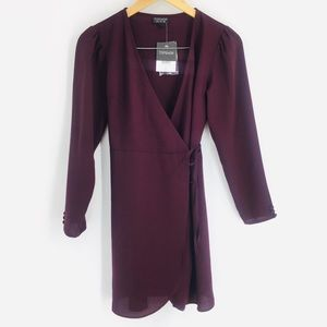 TOPSHOP Crepe Long Sleeve Wrap Dress in Wine